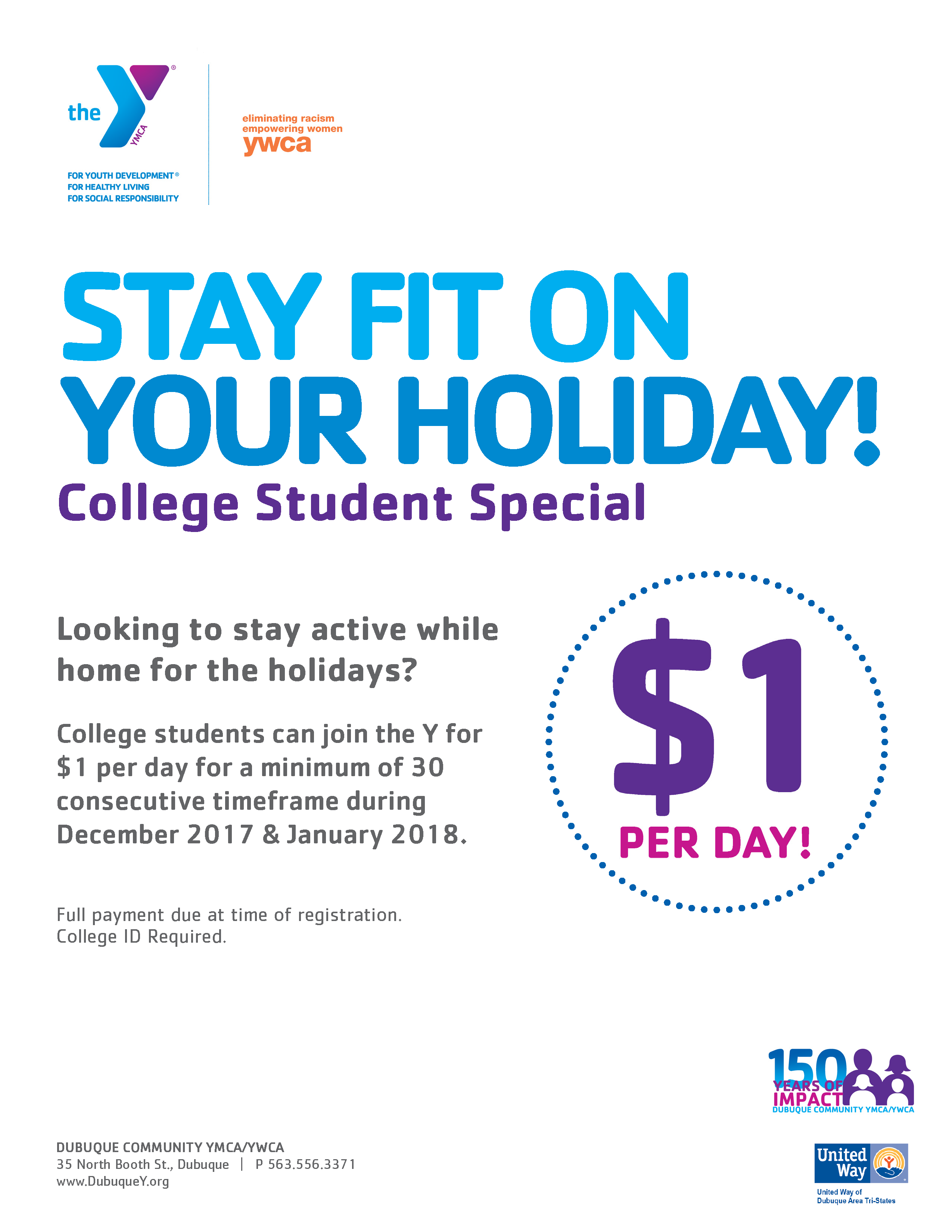 $1/Day Membership Special - Dubuque Community YMCA/YWCA